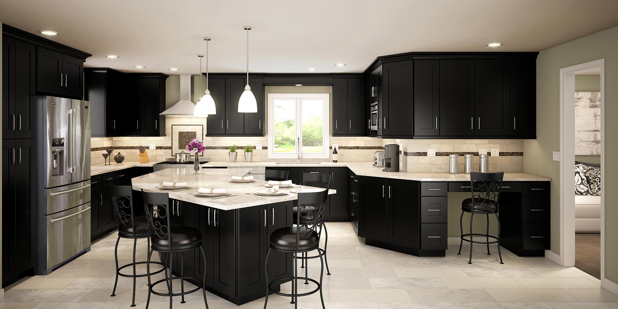 Kitchen Black interior Design