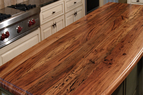Spalted Pecan face grain wood island top with Waterlox Satin finish.